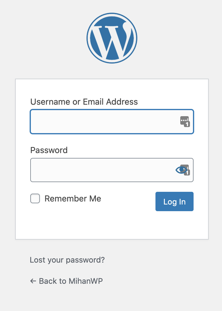 wordpress Default Login Form