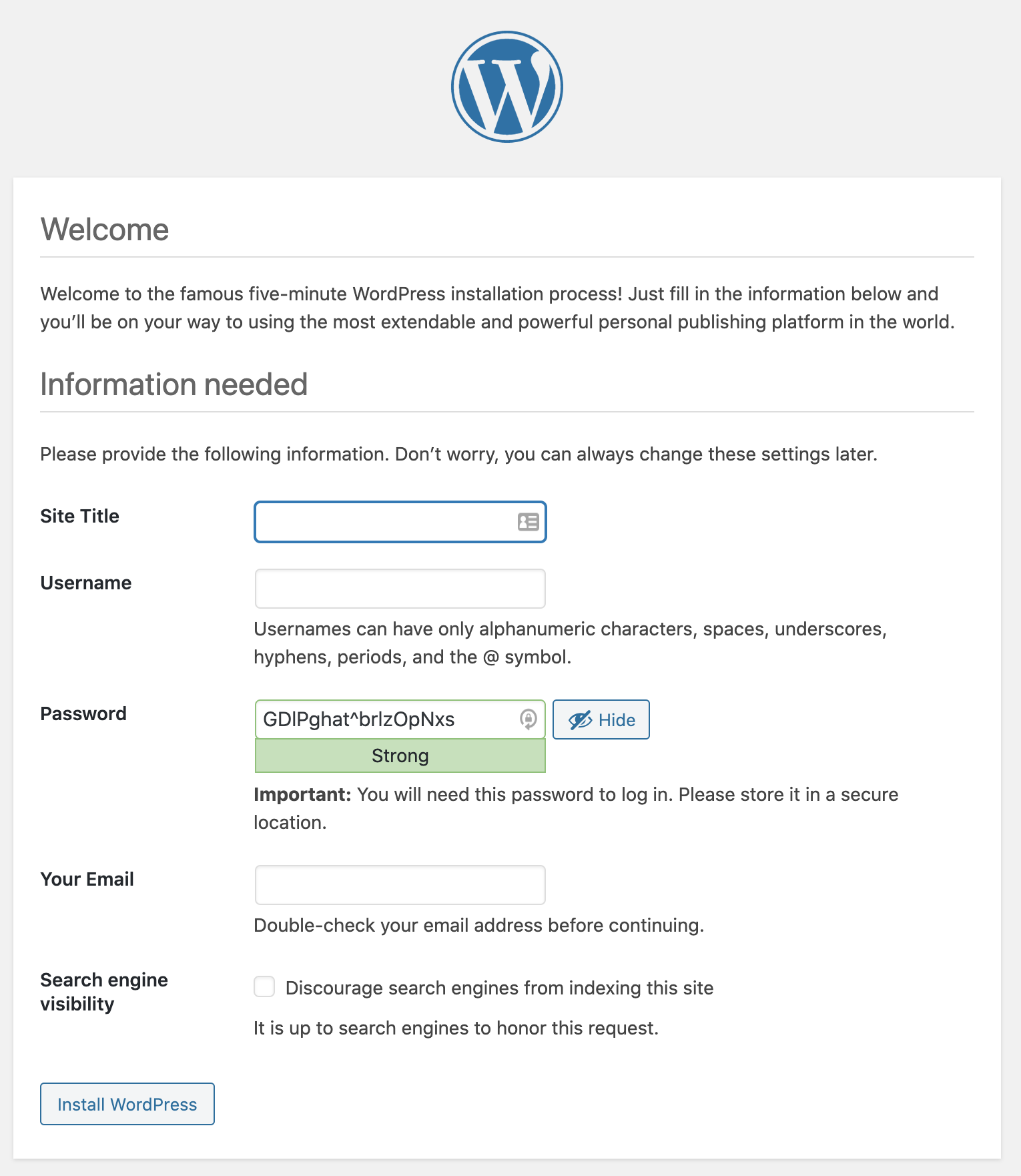 wordpress Admin information