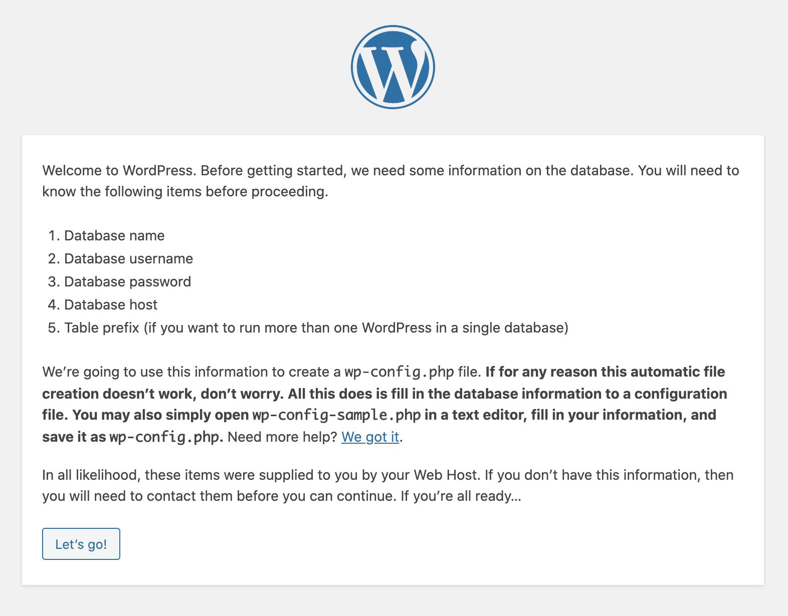 Start wordpress Installation