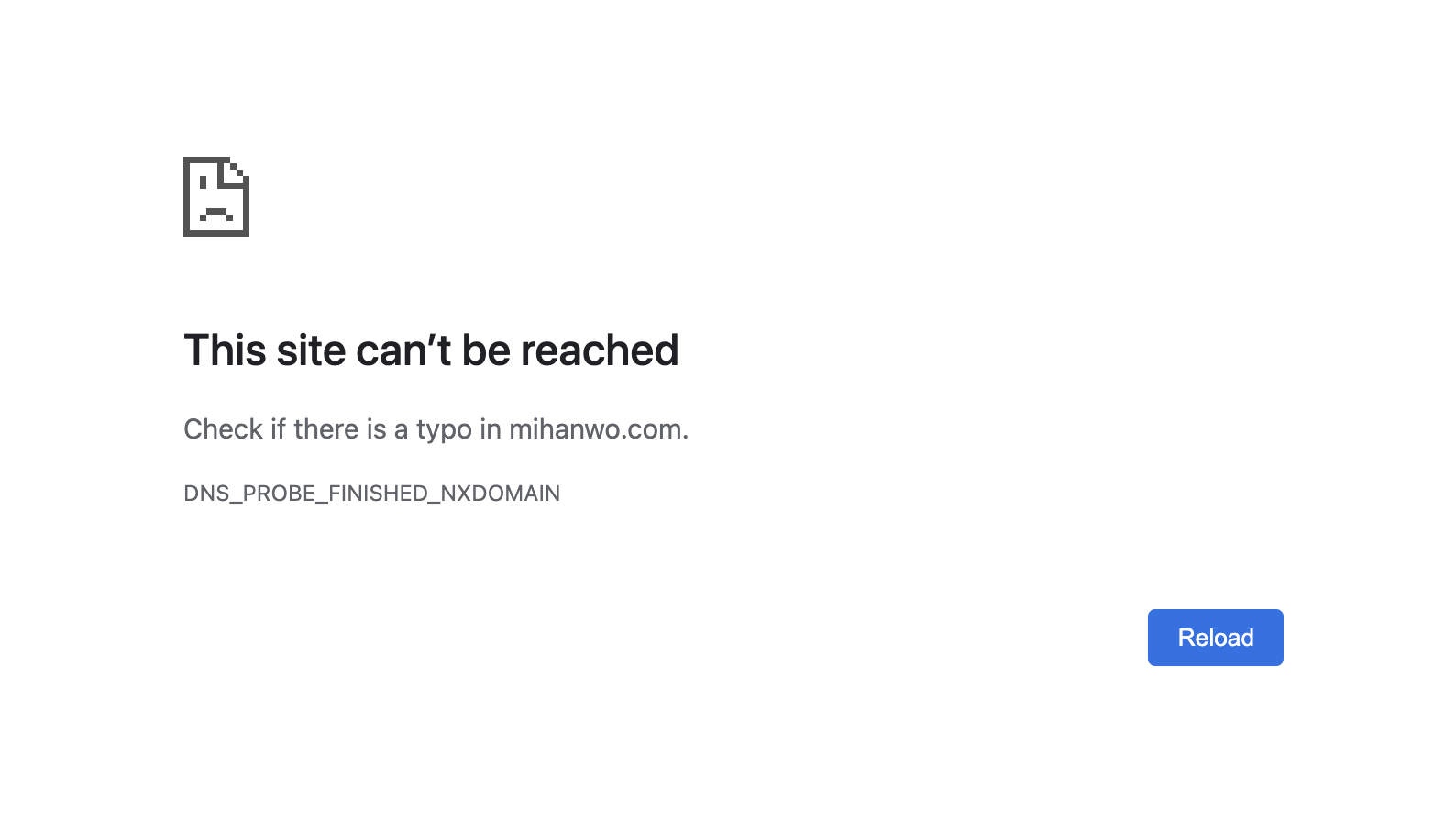 This site can't be reached error