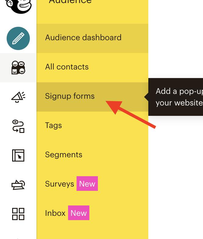 ساخت فرم ثبت نام ایمیلی میل چیمپ