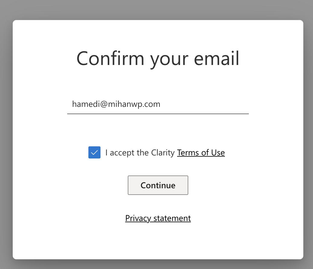 تایید ایمیل در Microsoft Clarity
