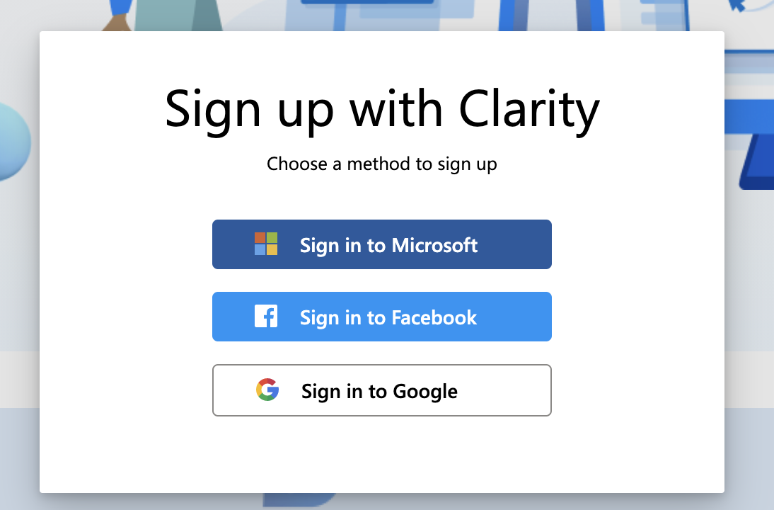 Sign up for Microsoft Clarity