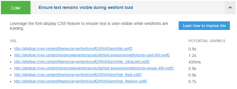 ارور Ensure text remains visible during webfont load