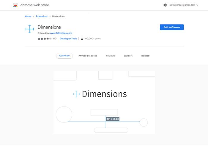 افزونه Dimensions