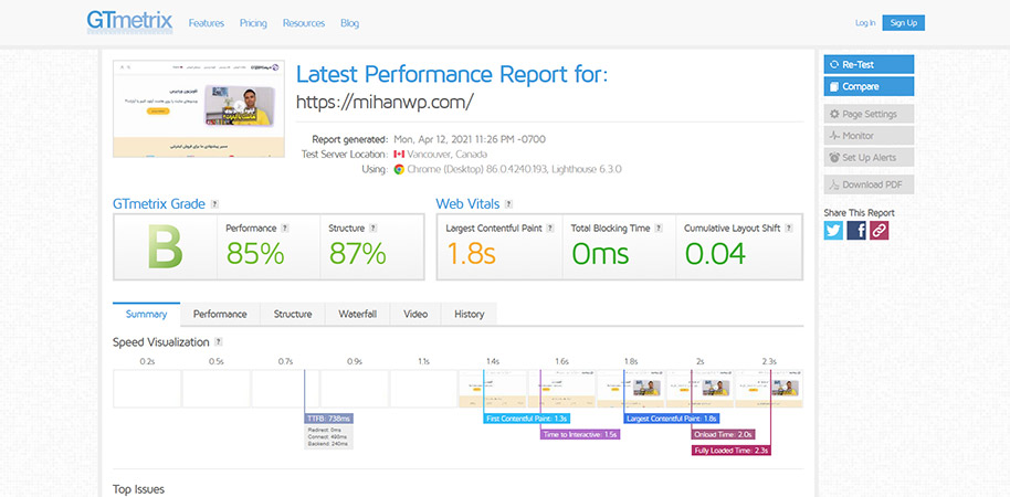 Check site speed with GT Metrics