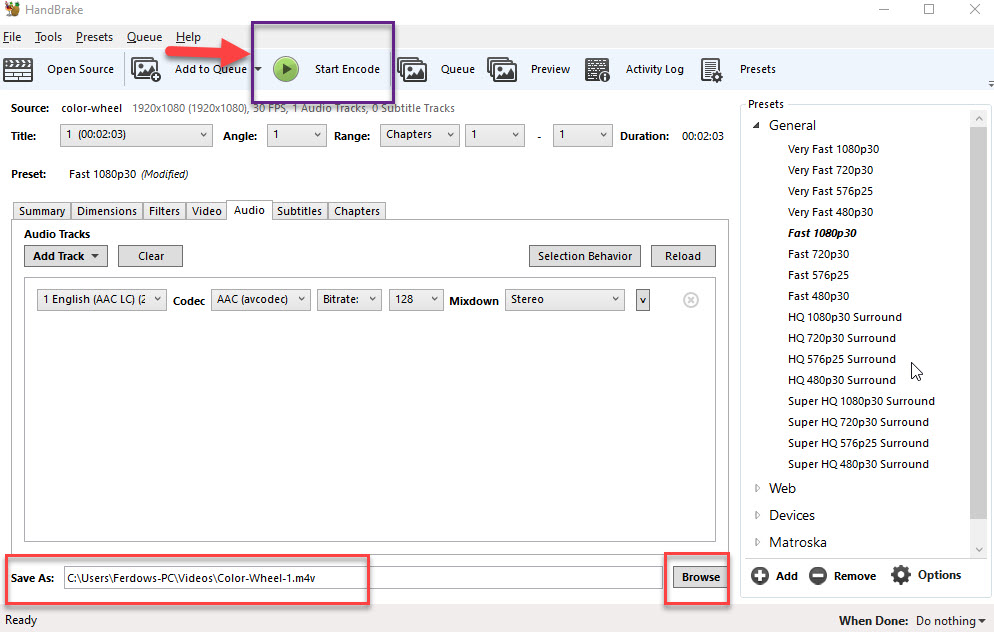 انتخاب فرمت ویدئو و ذخیره سازی