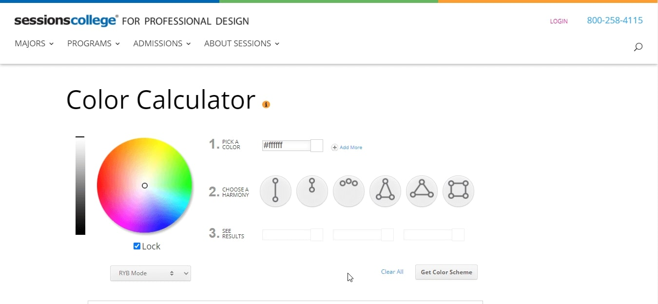 سایت Color Wheel Calculator برای انتخاب رنگ