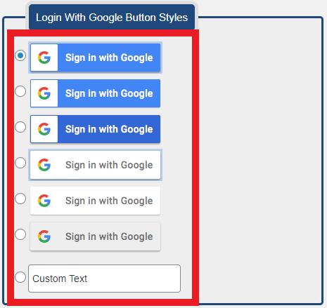 شکل ظاهری دکمه ورود با گوگل