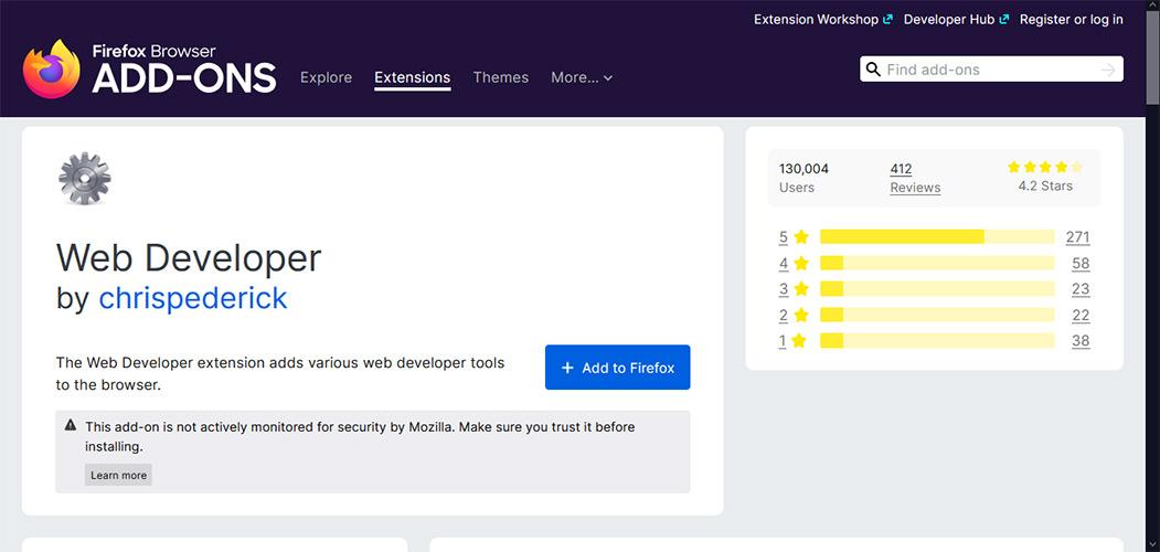 افزونه Web Developer