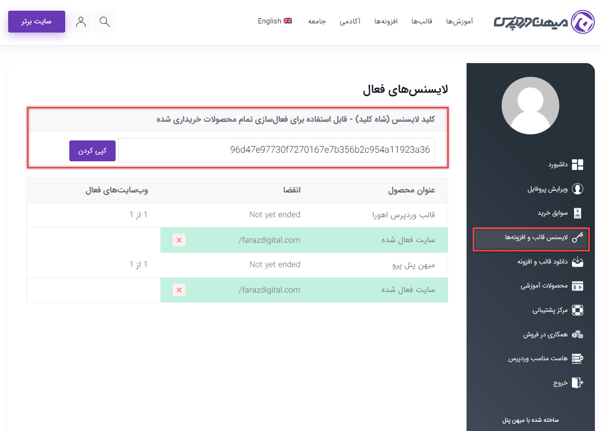 لایسنس قالب اهورا در پنل کاربری سایت میهن وردپرس
