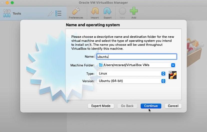 انتخاب نام، محل نصب، نوع سیستم عامل و ورژن