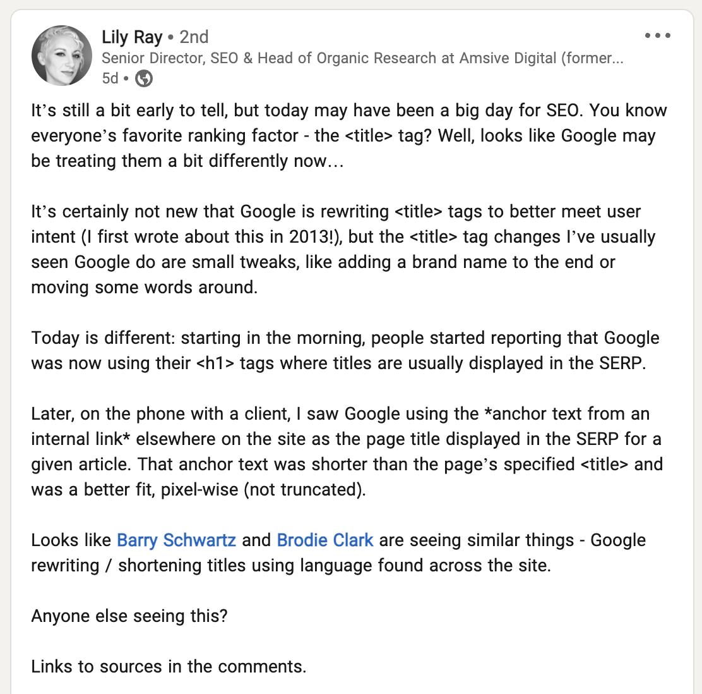 پست Lily Ray در لینکداین درباره تغییر عنوان نتایج توسط گوگل